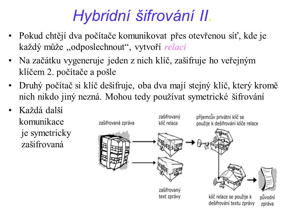 """Hybridní šifrování II. Pokud chtějí dva počítače komunikovat přes otevřenou síť, kde je každý může """"odposlechnout , vytvoří relaci."""