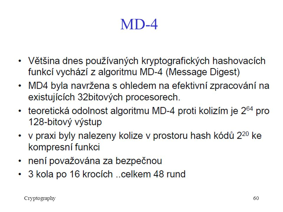MD-4 Cryptography