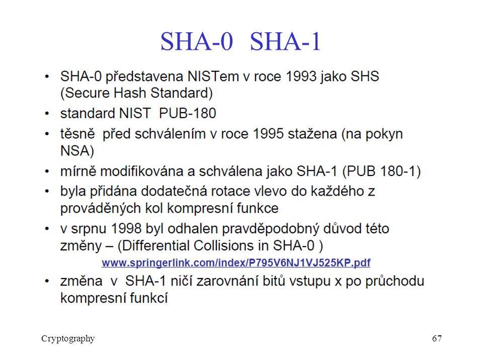 SHA-0 SHA-1 Cryptography