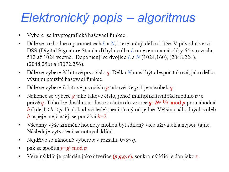 Elektronický popis – algoritmus
