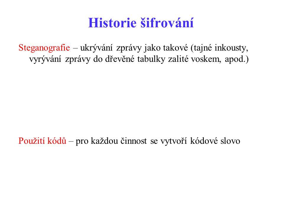 Historie šifrování Steganografie – ukrývání zprávy jako takové (tajné inkousty, vyrývání zprávy do dřevěné tabulky zalité voskem, apod.)