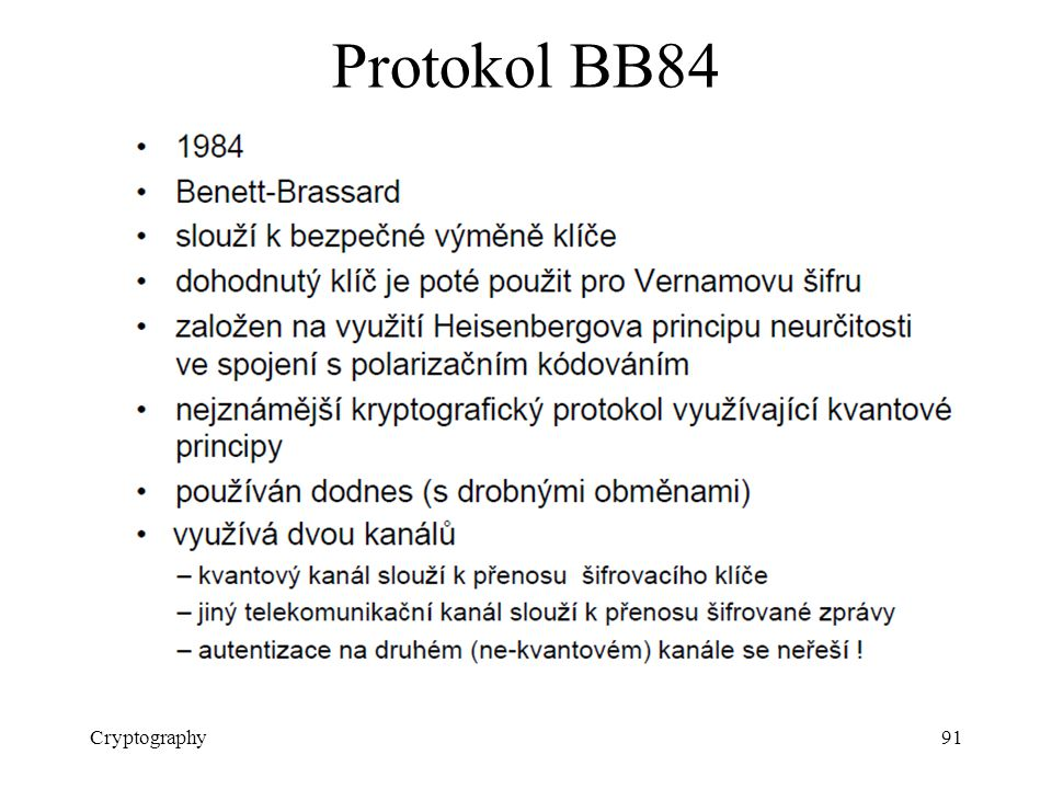 Protokol BB84 Cryptography
