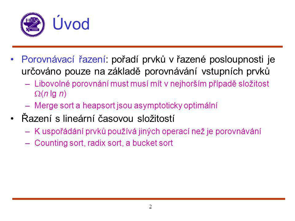 Úvod Porovnávací řazení: pořadí prvků v řazené posloupnosti je určováno pouze na základě porovnávání vstupních prvků.