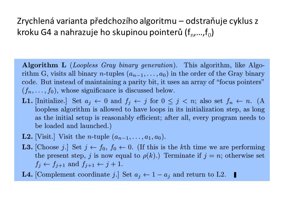Zrychlená varianta předchozího algoritmu – odstraňuje cyklus z kroku G4 a nahrazuje ho skupinou pointerů (fn,…,f0)
