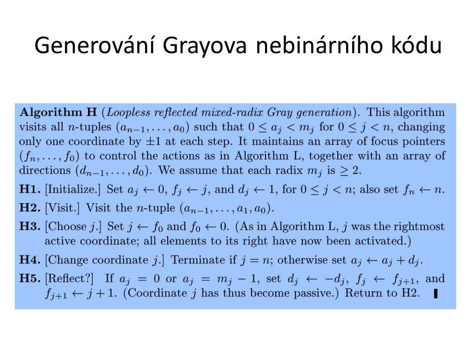 Generování Grayova nebinárního kódu