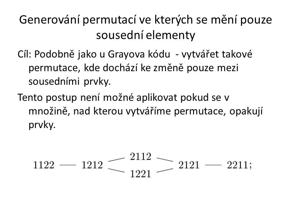 Generování permutací ve kterých se mění pouze sousední elementy