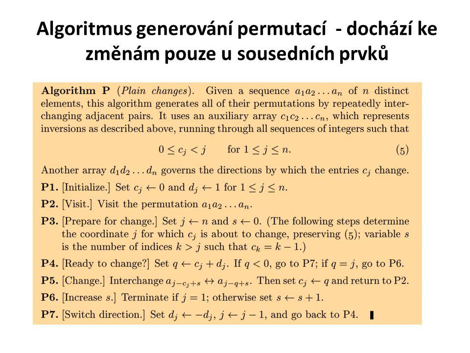 Algoritmus generování permutací - dochází ke změnám pouze u sousedních prvků