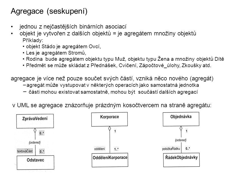Agregace (seskupení) jednou z nejčastějších binárních asociací