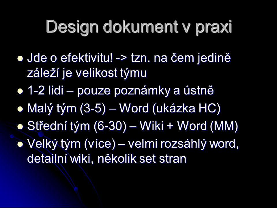 Design dokument v praxi