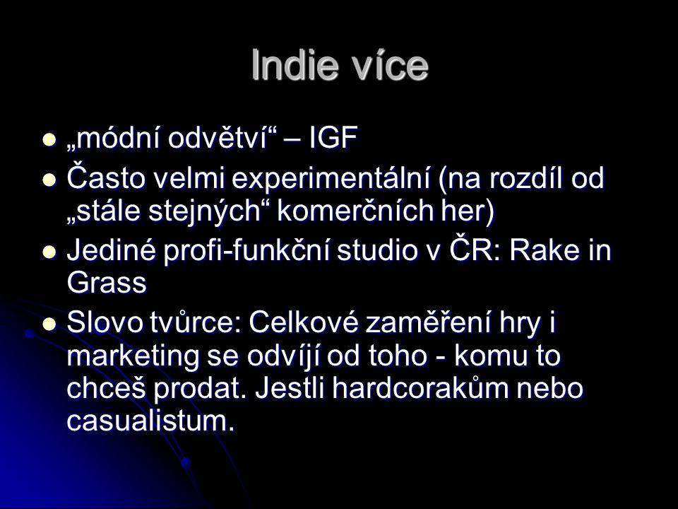 """Indie více """"módní odvětví – IGF"""