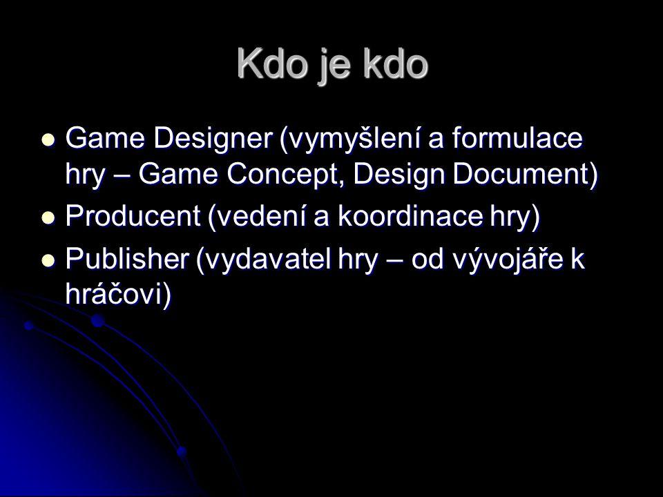 Kdo je kdo Game Designer (vymyšlení a formulace hry – Game Concept, Design Document) Producent (vedení a koordinace hry)