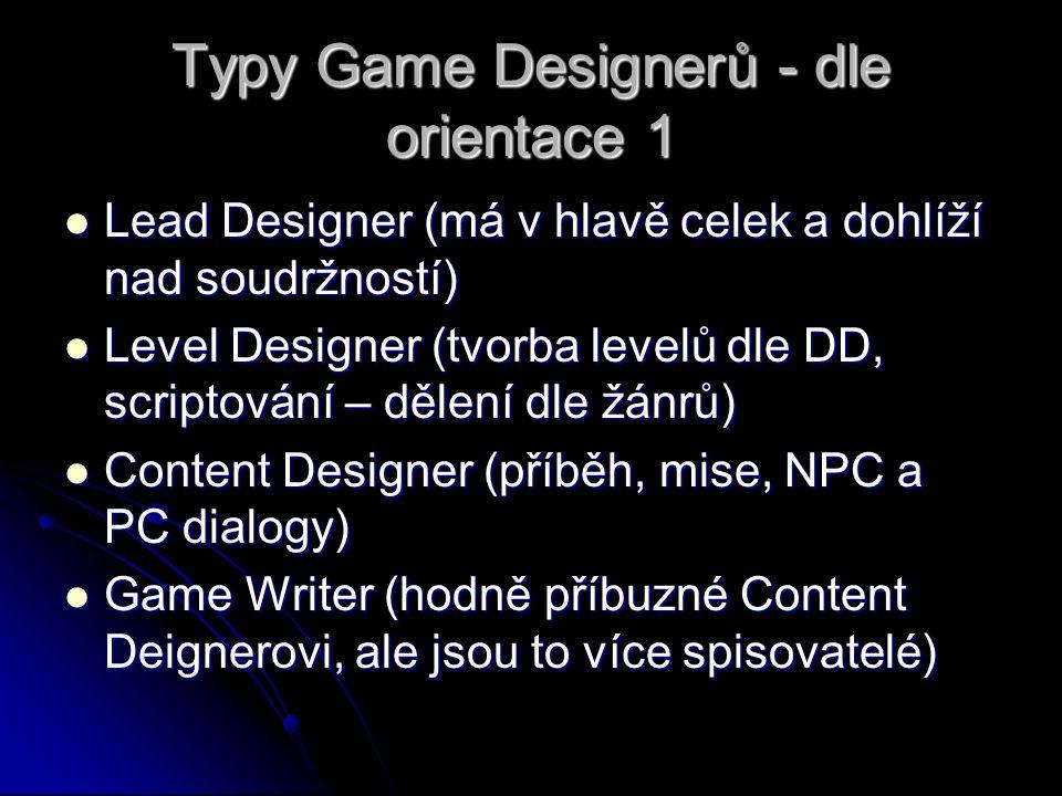 Typy Game Designerů - dle orientace 1