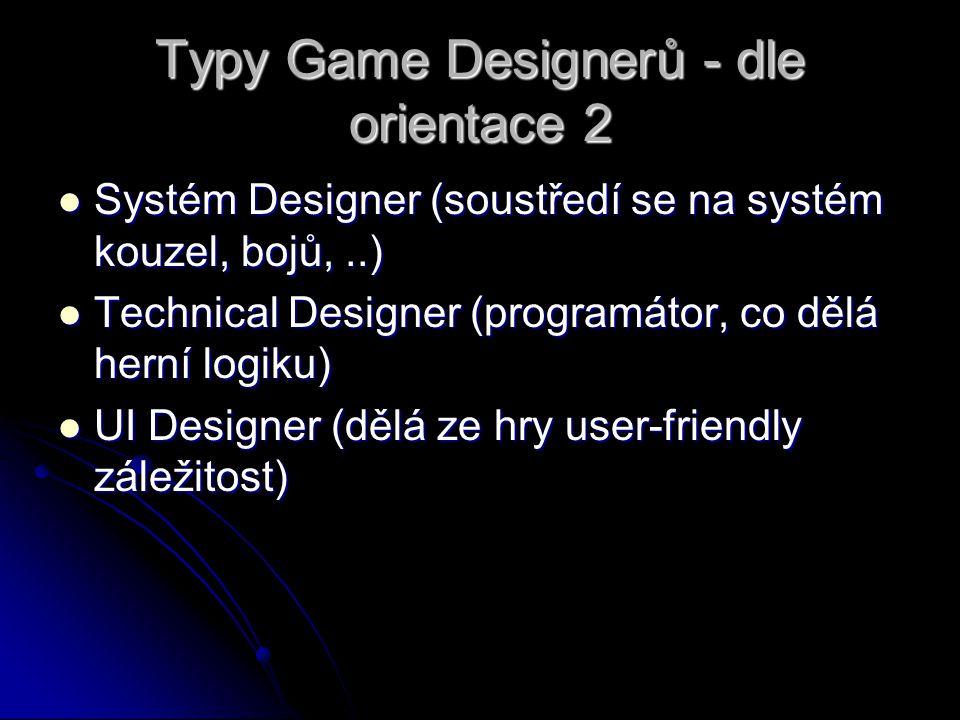 Typy Game Designerů - dle orientace 2