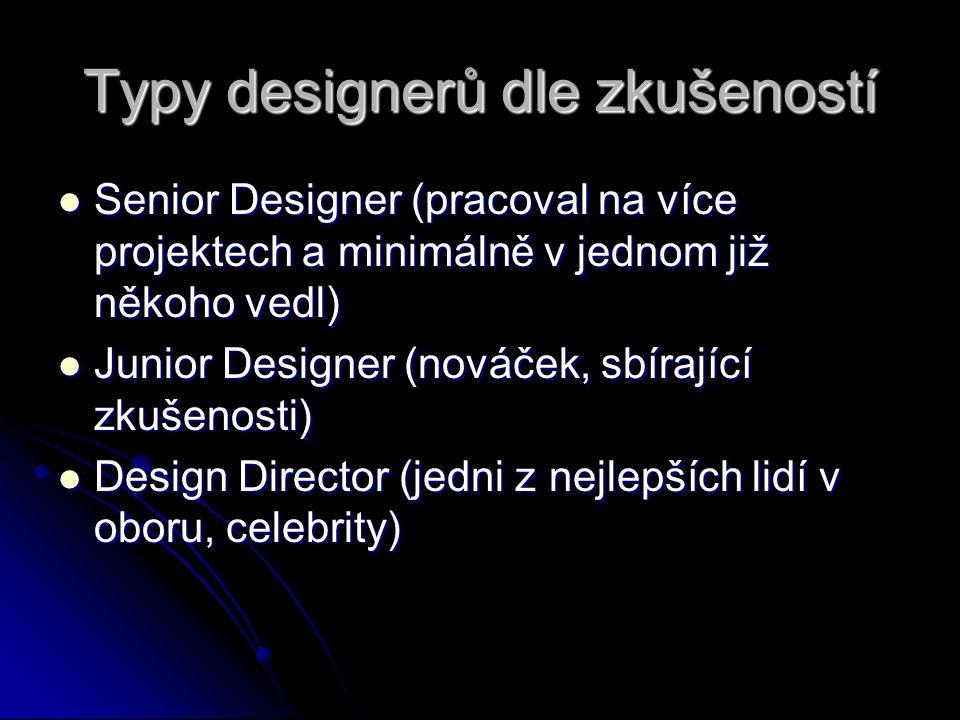 Typy designerů dle zkušeností
