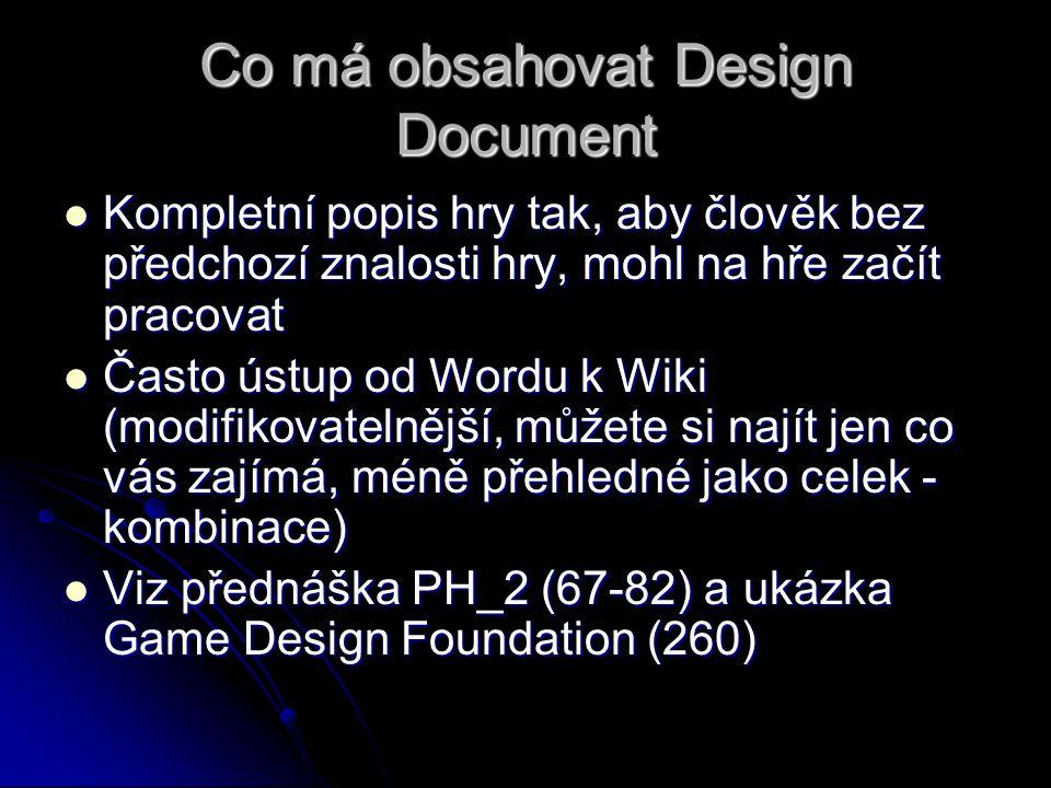 Co má obsahovat Design Document