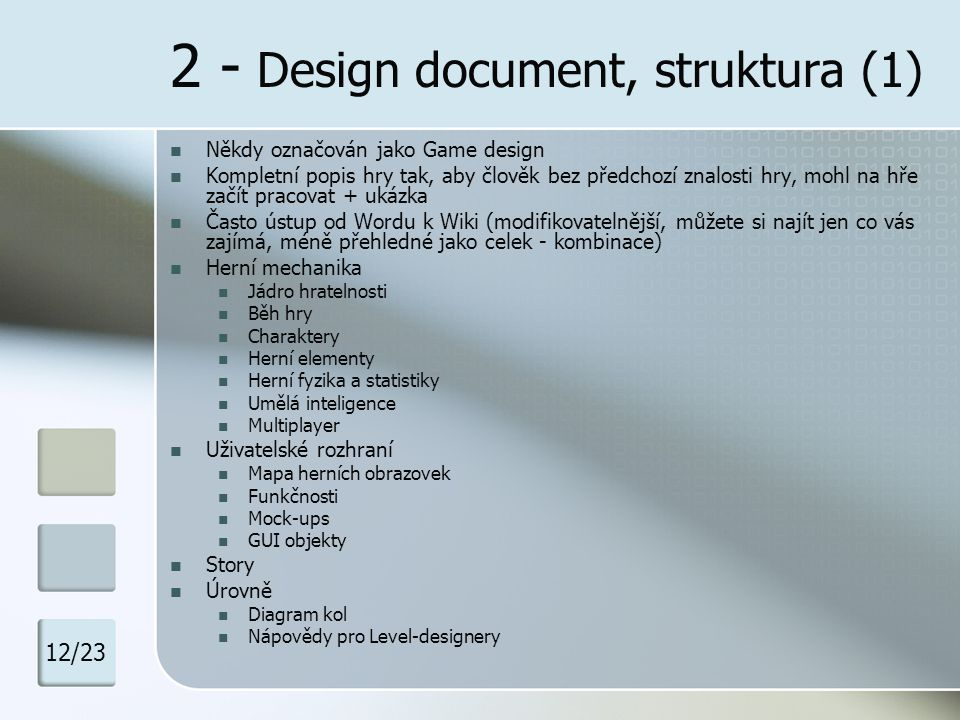 2 - Design document, struktura (1)