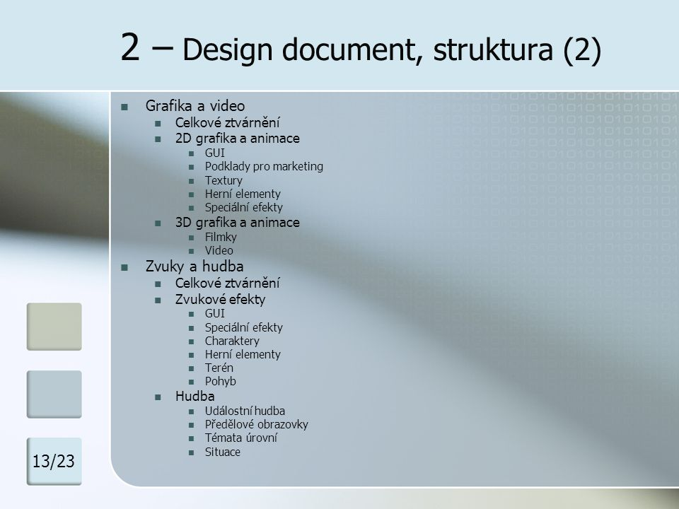 2 – Design document, struktura (2)