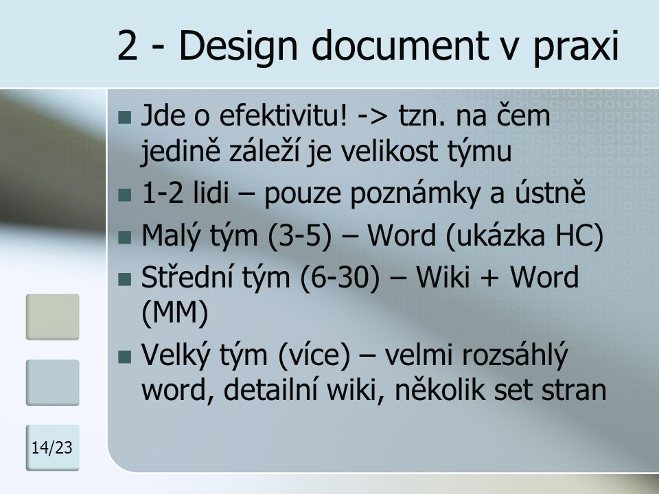 2 - Design document v praxi