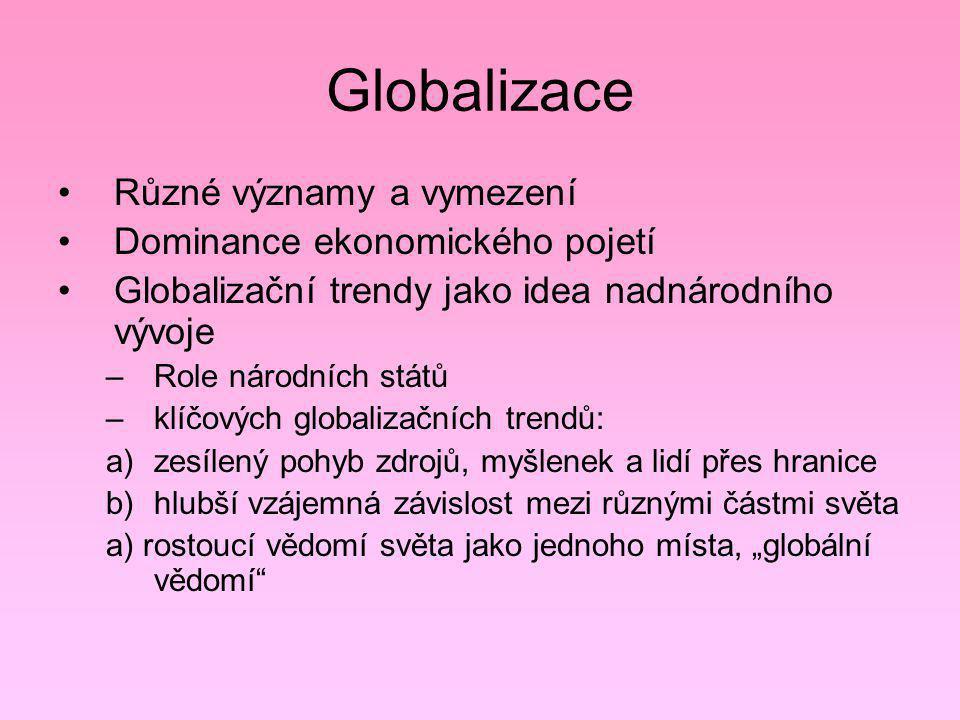 Globalizace Různé významy a vymezení Dominance ekonomického pojetí
