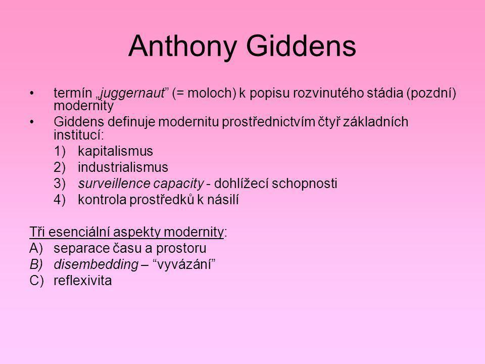 """Anthony Giddens termín """"juggernaut (= moloch) k popisu rozvinutého stádia (pozdní) modernity."""