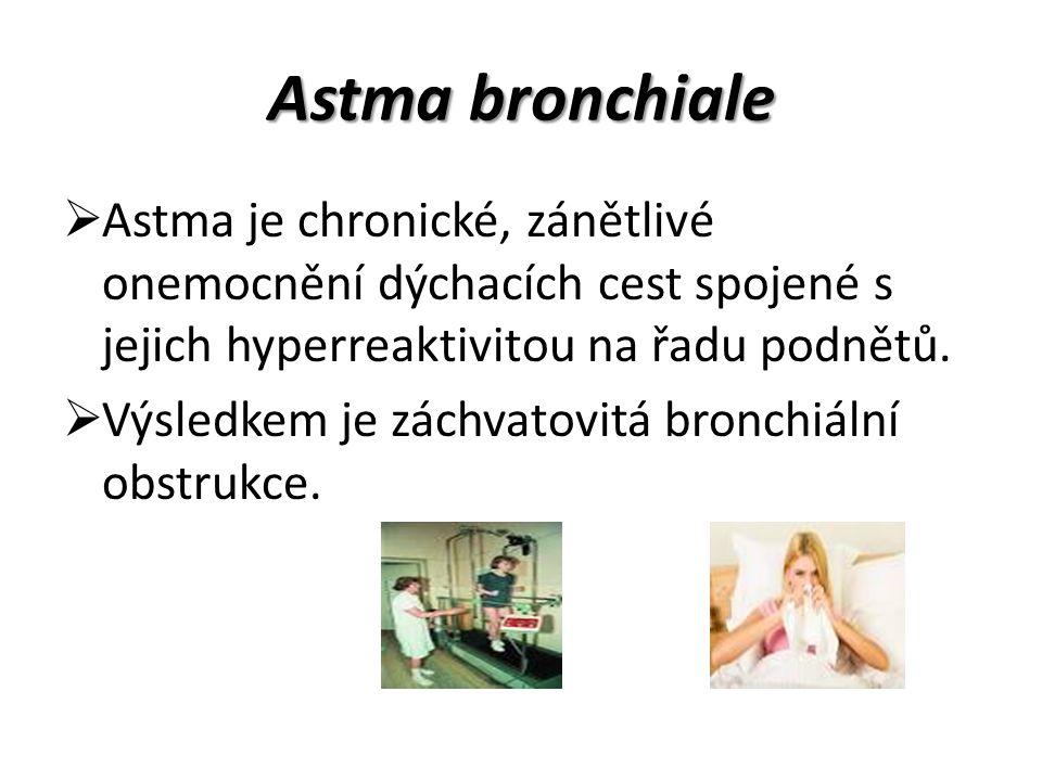 Astma bronchiale Astma je chronické, zánětlivé onemocnění dýchacích cest spojené s jejich hyperreaktivitou na řadu podnětů.