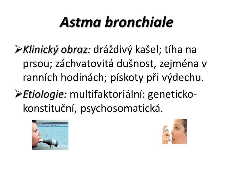 Astma bronchiale Klinický obraz: dráždivý kašel; tíha na prsou; záchvatovitá dušnost, zejména v ranních hodinách; pískoty při výdechu.