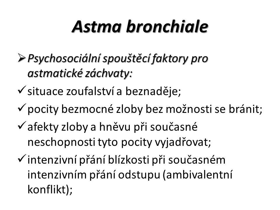 Astma bronchiale Psychosociální spouštěcí faktory pro astmatické záchvaty: situace zoufalství a beznaděje;