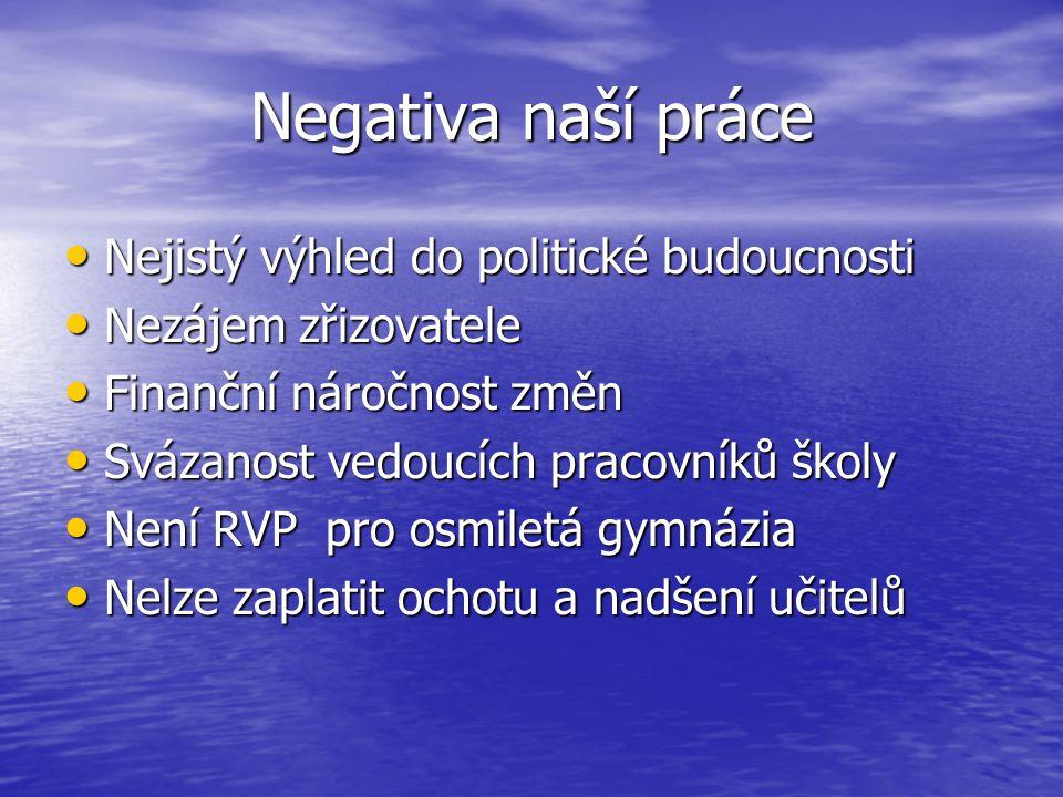 Negativa naší práce Nejistý výhled do politické budoucnosti
