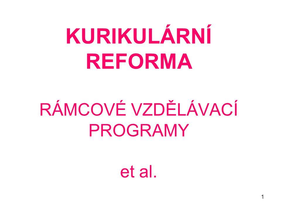 KURIKULÁRNÍ REFORMA RÁMCOVÉ VZDĚLÁVACÍ PROGRAMY et al.