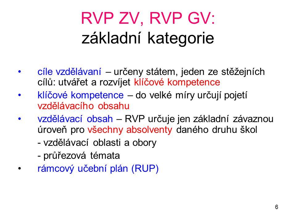 RVP ZV, RVP GV: základní kategorie