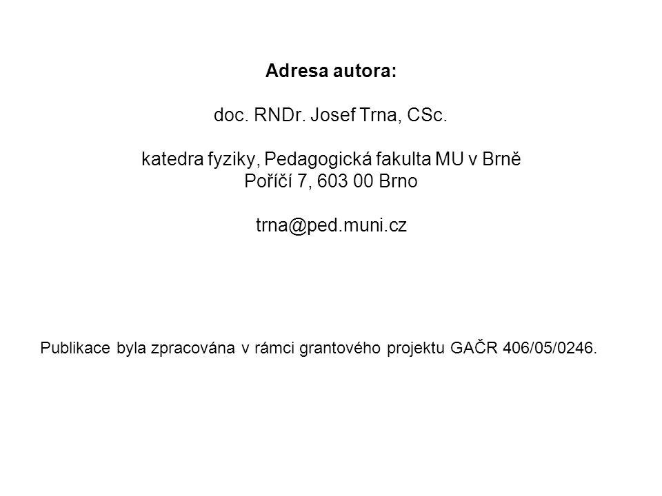 Adresa autora: doc. RNDr. Josef Trna, CSc