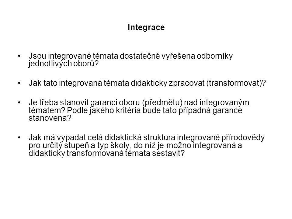 Integrace Jsou integrované témata dostatečně vyřešena odborníky jednotlivých oborů