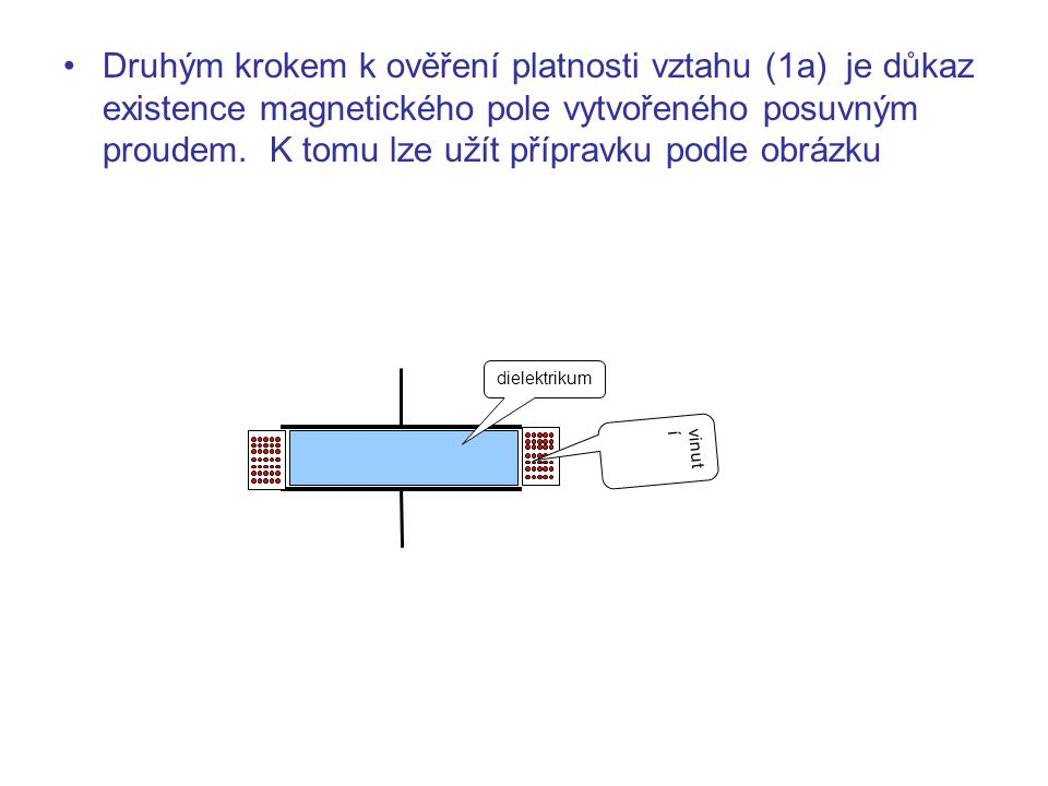 Druhým krokem k ověření platnosti vztahu (1a) je důkaz existence magnetického pole vytvořeného posuvným proudem. K tomu lze užít přípravku podle obrázku