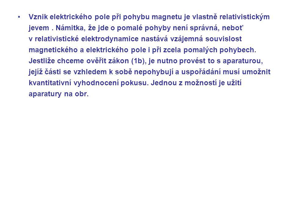 Vznik elektrického pole při pohybu magnetu je vlastně relativistickým jevem .