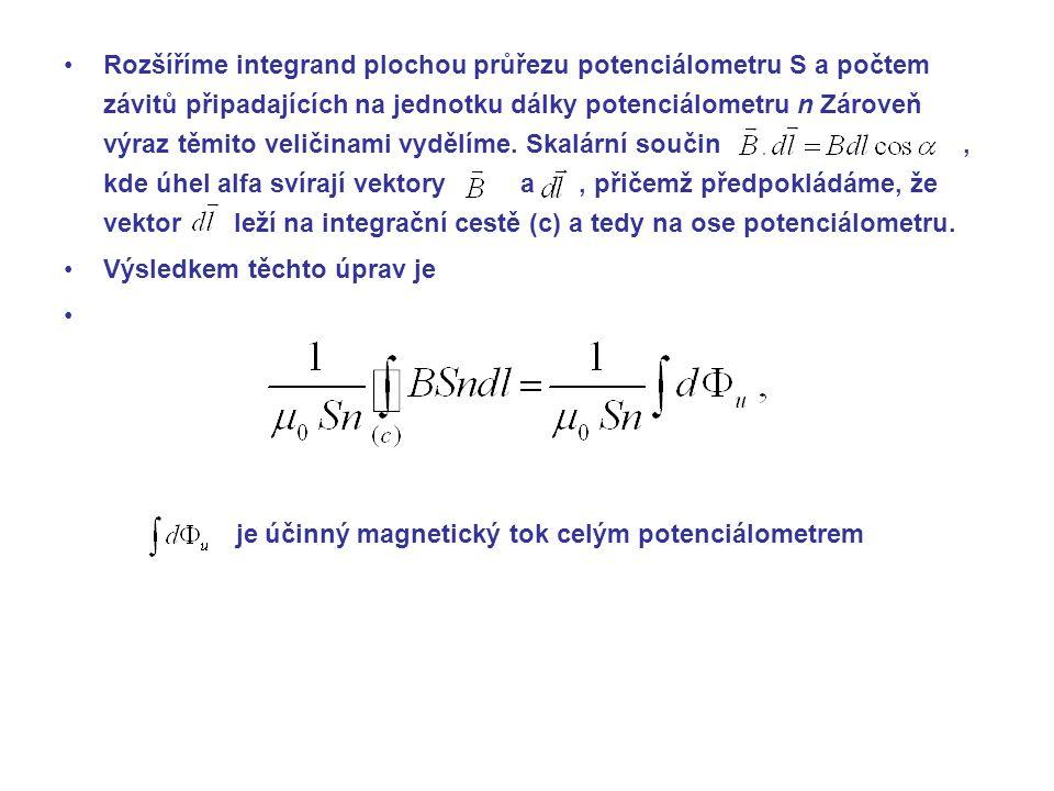 je účinný magnetický tok celým potenciálometrem