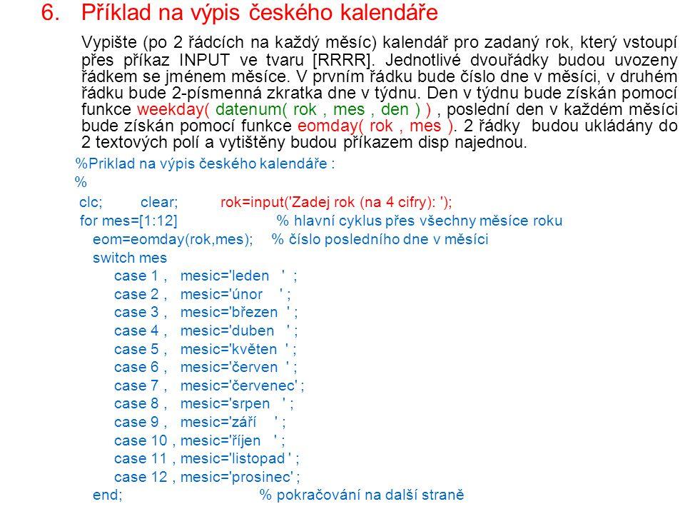 Příklad na výpis českého kalendáře