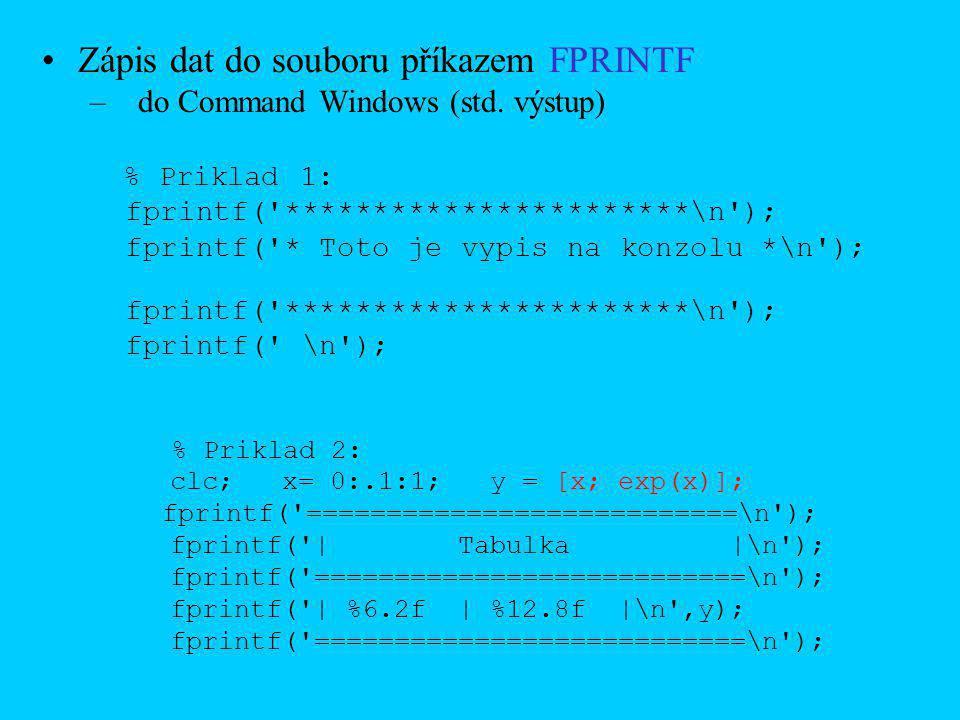 Zápis dat do souboru příkazem FPRINTF