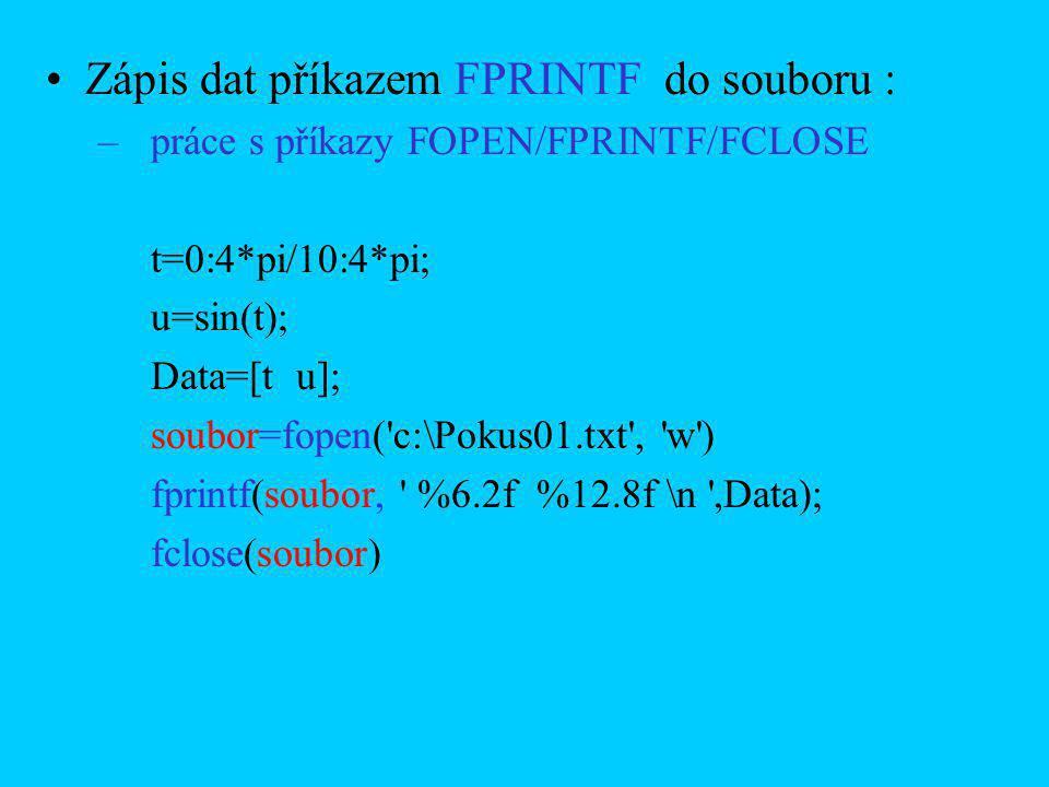 Zápis dat příkazem FPRINTF do souboru :