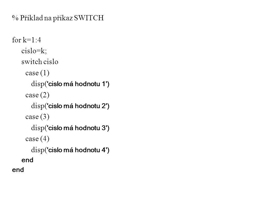 % Příklad na příkaz SWITCH for k=1:4 cislo=k; switch cislo case (1)