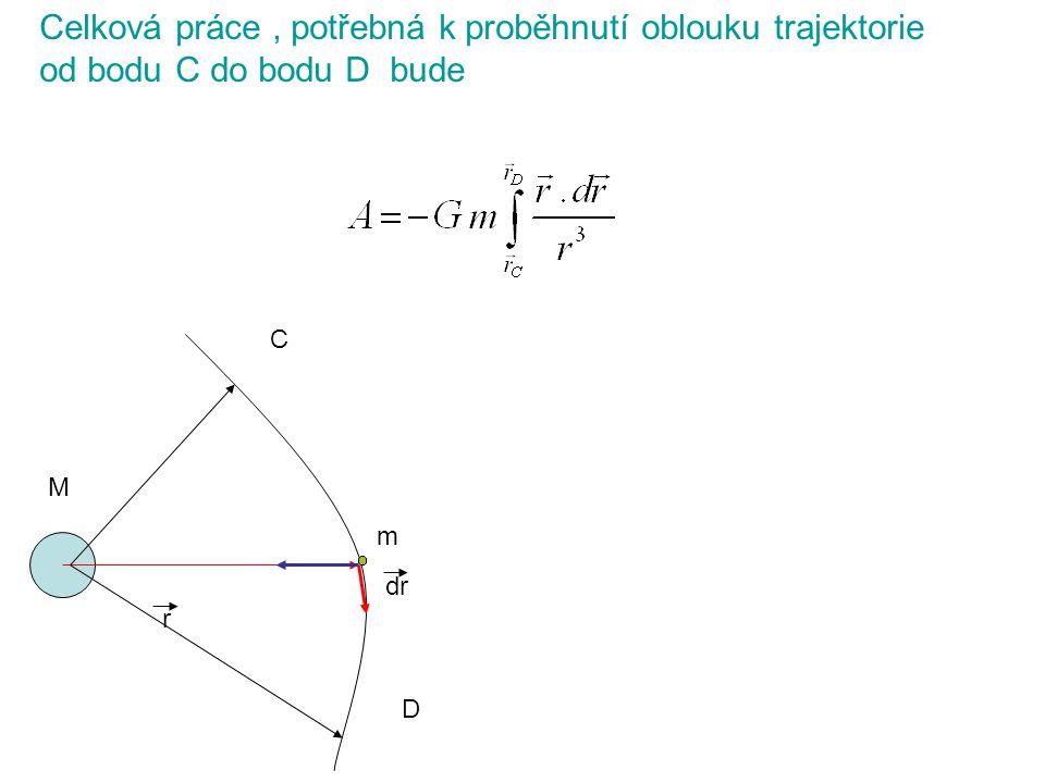 Celková práce , potřebná k proběhnutí oblouku trajektorie od bodu C do bodu D bude