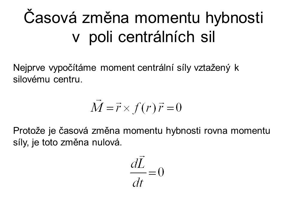 Časová změna momentu hybnosti v poli centrálních sil