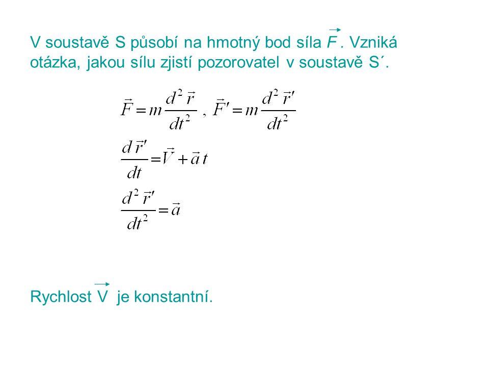 V soustavě S působí na hmotný bod síla F