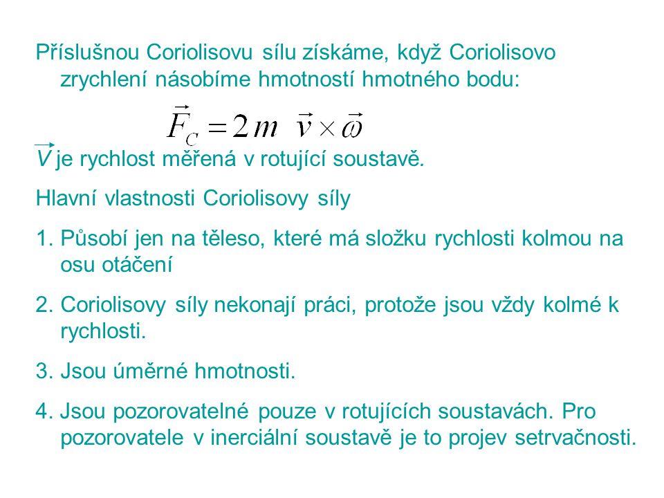 Příslušnou Coriolisovu sílu získáme, když Coriolisovo zrychlení násobíme hmotností hmotného bodu: