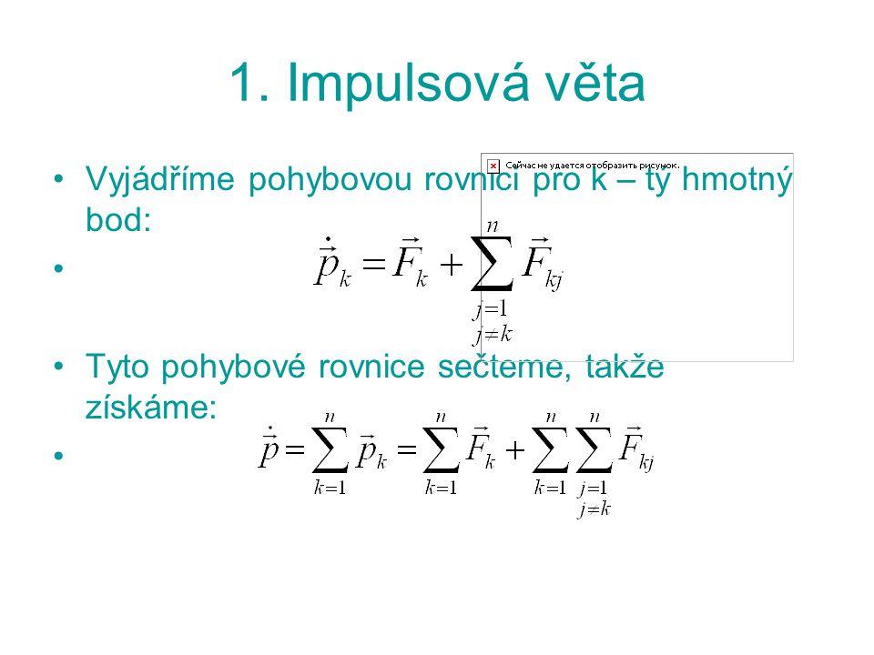 1. Impulsová věta Vyjádříme pohybovou rovnici pro k – tý hmotný bod: