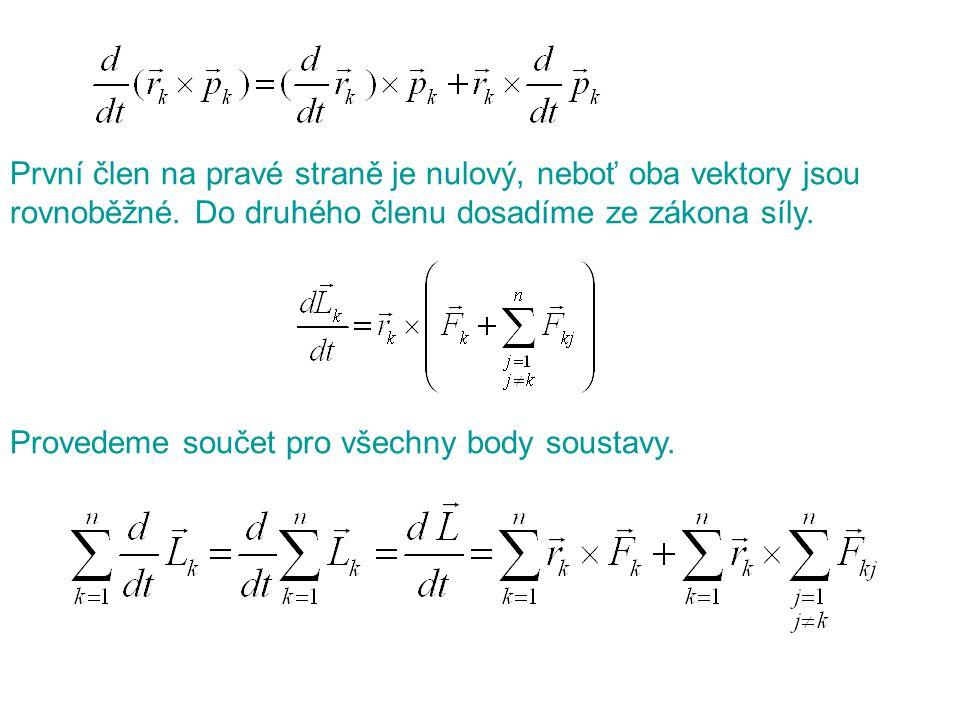 První člen na pravé straně je nulový, neboť oba vektory jsou rovnoběžné. Do druhého členu dosadíme ze zákona síly.