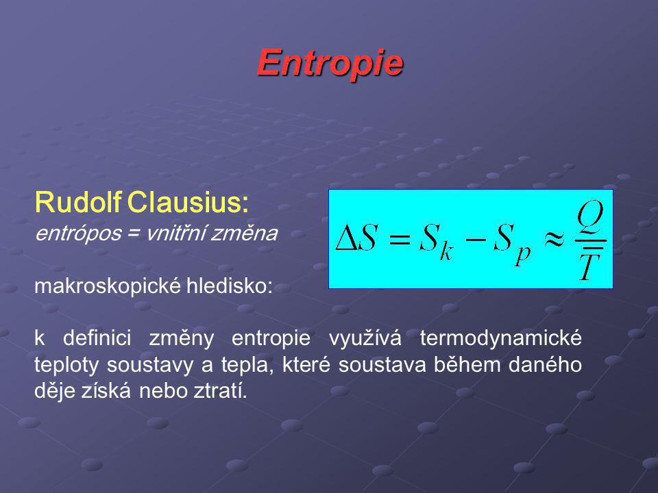 Entropie Rudolf Clausius: entrópos = vnitřní změna