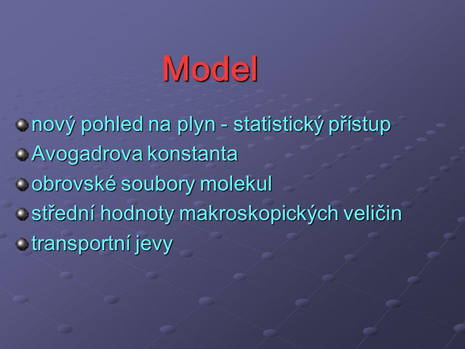 Model nový pohled na plyn - statistický přístup Avogadrova konstanta