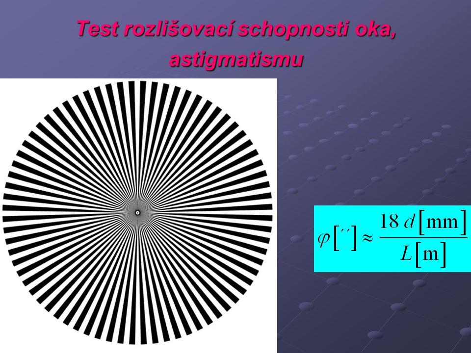 Test rozlišovací schopnosti oka, astigmatismu