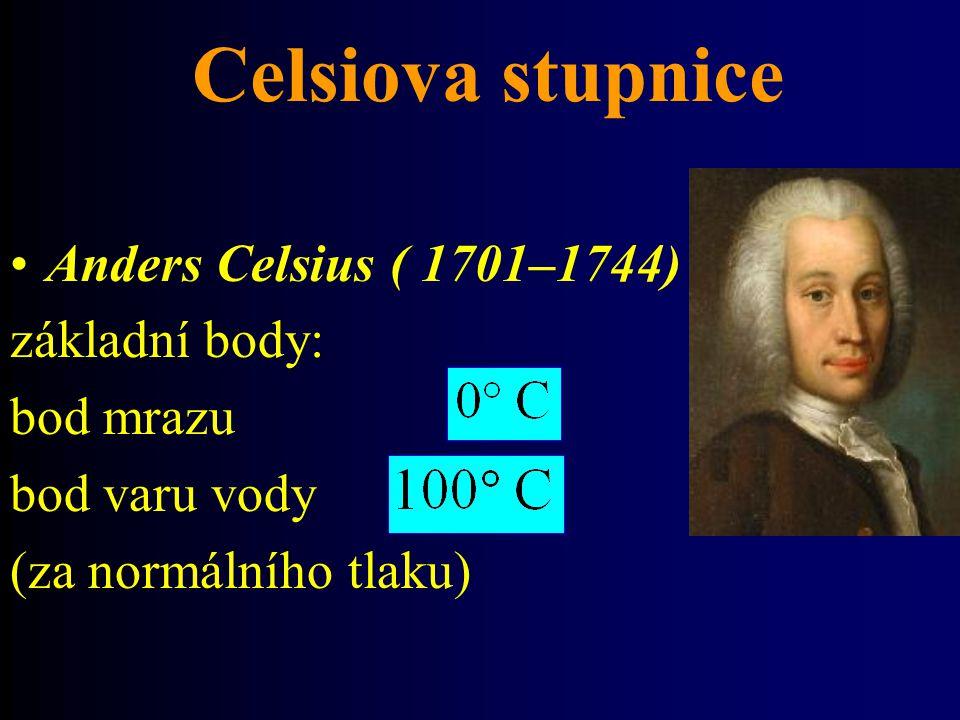 Celsiova stupnice Anders Celsius ( 1701–1744) základní body: bod mrazu