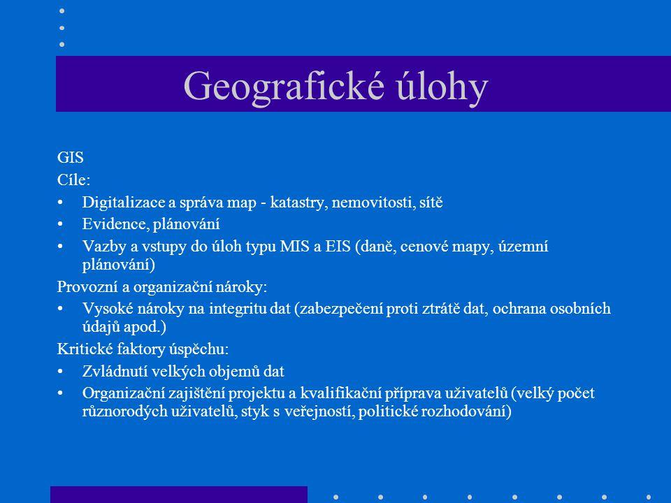 Geografické úlohy GIS Cíle:
